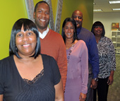 New Charlotte Works staff members stationed at the NCWorks Career Center on Morehead Street include (from left) Joanne Bellamy, James Merrick, Tasha Williamson, Mark Greer and Pamela Jackson-Huffin.