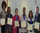 From left, Career Coaches Daena Spencer (Executive Center Drove), Jaslyn Roberts, Marlene Bishop, Anastasia Knight, Shemia Williams and Jeff Adams (all at W. Morehead Street) celebrate their graduation from Paradigm 360 Coach Training's 15-week certification program.