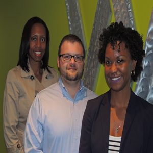 (From left) Career Coach Marquitta Frost; Alex Cooley, research and reporting analyst; and Katrina Louis, communications manager, have joined the organization at the NCWorks Career Center at W. Morehead Street.