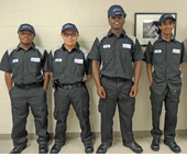 The inaugural class of the pre-apprenticeship pathways program at CATS includes (left to right): Tyshawn Collins, Israel Garcia-Perez, Marcus Feagins and Abraham Asehun. The 14-month initiative gives youth an opportunity to get hands-on training in the transportation industry.