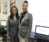 Charlotte Works Interim President/CEO Danielle Frazier and Community Partnerships Manager Debra Dixon White attend the grand opening of the Druid Hills Career Center at St. Luke Missionary Baptist Church. The center will be one of approximately 30 NCWorks CARE3 sites, which extends Charlotte Works resources within local neighborhoods and faith-based organizations.