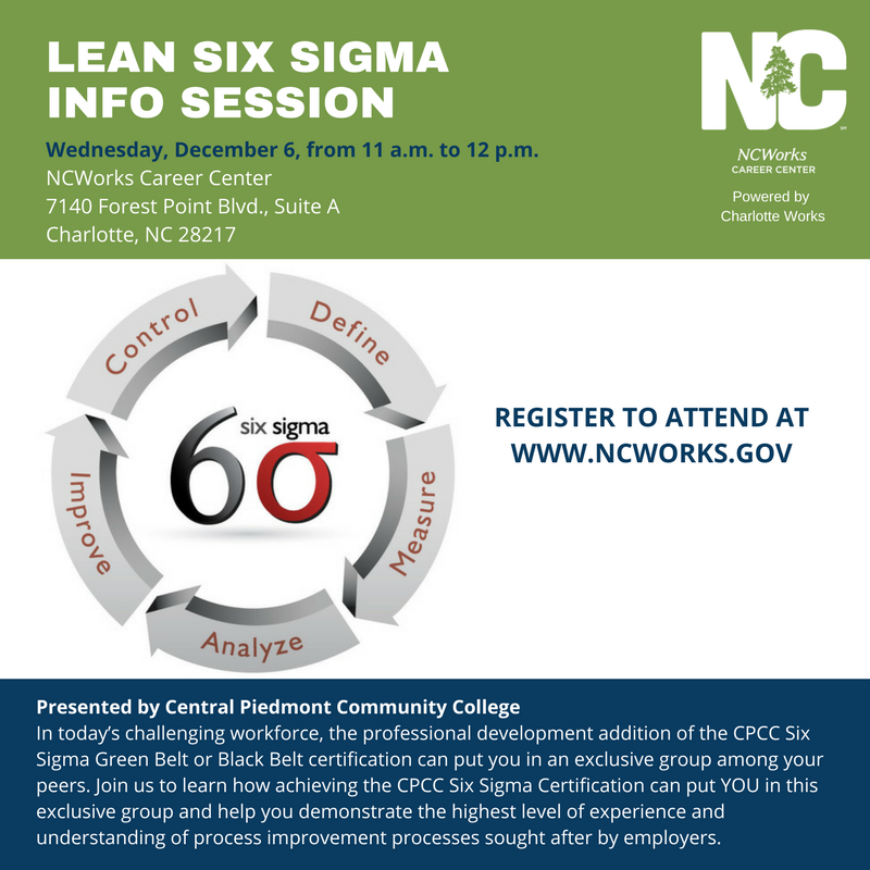 Lean Six Sigma Info Session Charlotte Works