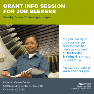 On-the-Job Training Grant Info Session for Job Seekers 10/17/2019