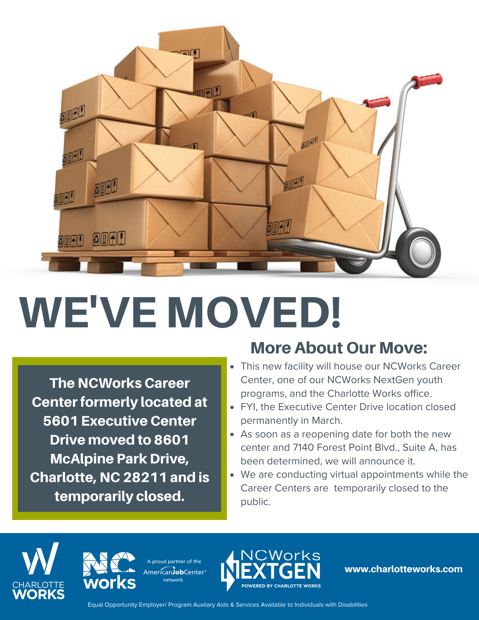 We've Moved: info about Charlotte Works new space.